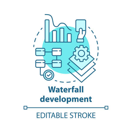 Waterfall development concept icon. Sequential phases of project. Strategy management. Workflow administration idea thin line illustration. Vector isolated outline drawing. Editable stroke