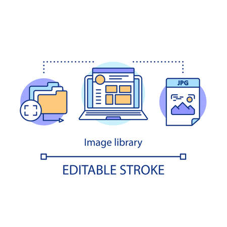 Image library concept icon. Internet images hosting idea thin line illustration. Pictures, photos, media digital storage. Social media content. Vector isolated outline drawing. Editable stroke Фото со стока - 131292862