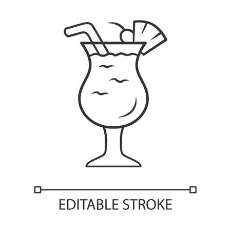 Pina colada linear icon. Footed glass with drink, slice of fruit and straw. Alcohol beverage. Thin line illustration. Contour symbol. Vector isolated outline drawing. Editable stroke