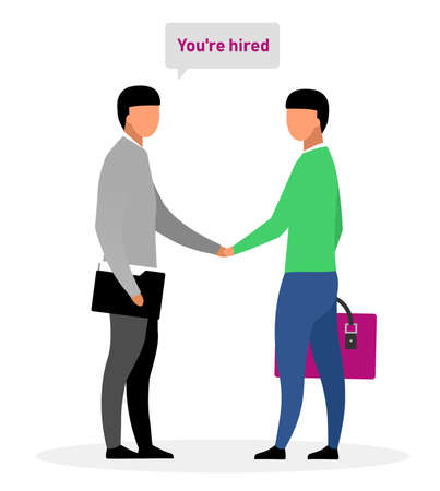 Hiring new worker flat vector illustration. Boss, chief shaking hand with successful applicant cartoon characters. Informing jobseeker about positive employment decision. HR expert greeting newbie Vettoriali