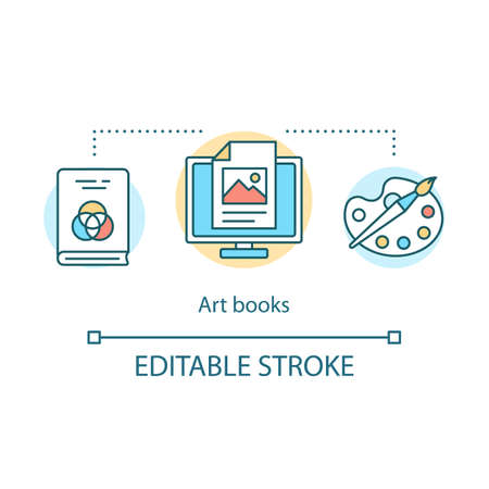 Art books concept icon. Drawing and graphic design educational tutorial idea thin line illustration. Literature about painting and visual arts. Vector isolated outline drawing. Editable stroke  イラスト・ベクター素材