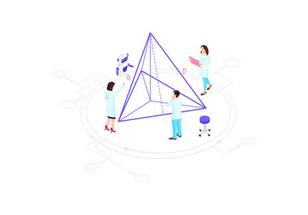 Scientists, mathematicians, academics, research workers isometric vector illustration. People solving geometrical task infographic. Triangle 3d concept. Futuristic technology, algorithm element Vektorové ilustrace