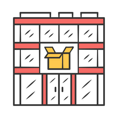 Post office building color icon. Postal warehouse facilities. Delivery office. Order shipping. Shipment service. Parcel storage. Isolated vector illustration