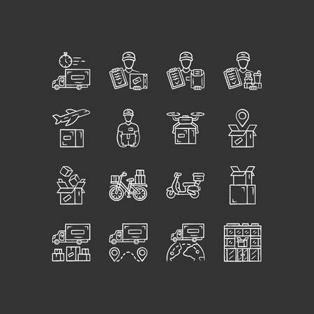 Delivery chalk icons set. Express goods shipping. Logistics and distribution industry. Cargo, freight shipment. Courier postal service. Isolated vector chalkboard illustrations