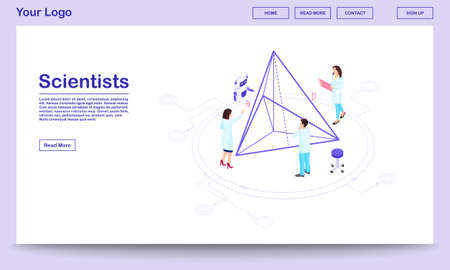 Computer assisted science isometric webpage template. Scientists with AI assistant. Geometry experts calculating pyramid proportions, doing 3d modelling. Hi-tech research center landing page