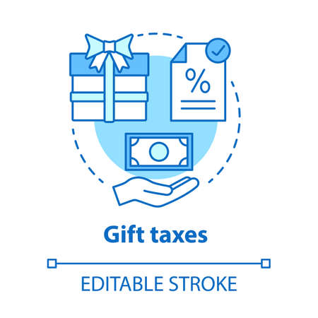 Gift taxes blue concept icon. Taxable goods idea thin line illustration. Interest rate on present. Tax on transferring wealth. Paying fee for gift. Vector isolated outline drawing. Editable stroke Illusztráció