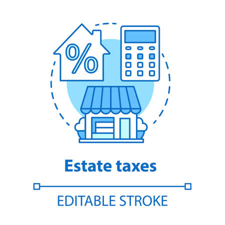 Estate taxes blue concept icon. Financial levy idea thin line illustration. Inheritance tax calculation. Paying percent for assets, money and property. Vector isolated outline drawing. Editable stroke Illustration