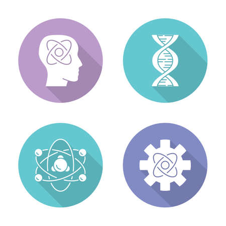 Physics branches flat design long shadow glyph icons set. Neurophysics, biophysics, engineering and nuclear physics. Human brain, structure of molecule. Vector silhouette illustration