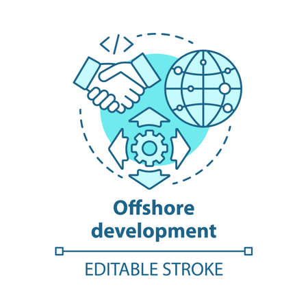 Offshore development concept icon. Recruiting freelancers from around world. International IT business company idea thin line illustration. Vector isolated outline drawing. Editable stroke 向量圖像