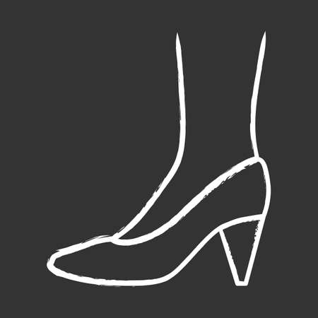 Cone heel shoes chalk icon. Woman stylish formal footwear design. Female casual stacked high heels, luxury modern pumps. Office fashion, clothing accessory. Isolated vector chalkboard illustration