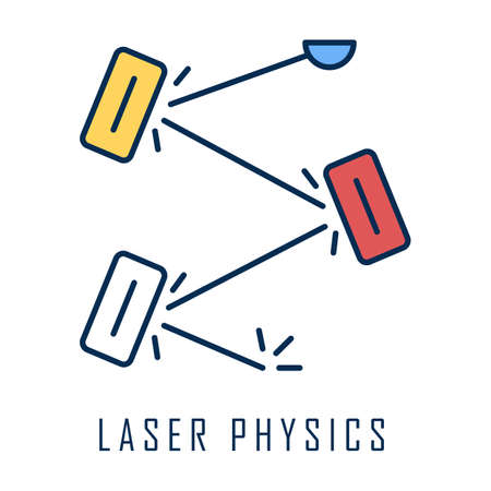 Laser physics color icon. Optics branch. Quantum electronics, laser construction, optical cavity. Light reflection. Optical scientific experiment. Light physics research. Isolated vector illustration 向量圖像