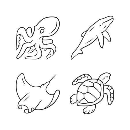 Underwater world linear icons set. Swimming octopus, squid, turtle. Ocean animals. Marine fauna. Aquatic creatures. Thin line contour symbols. Isolated vector outline illustrations. Editable stroke Çizim