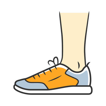 Trainers color icon. Women and men stylish footwear design for sports workout. Unisex casual sneakers, modern comfortable tennis shoes. Male and female fashion. Isolated vector illustration