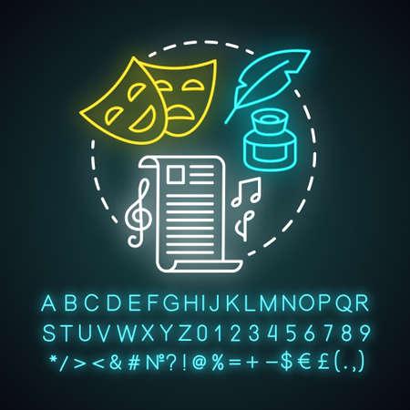 Reproduce el icono del concepto de luz de neón. Idea de teatro y guión dramático. Guión teatral y acompañamiento musical. Signo brillante con alfabeto, números y símbolos. Ilustración de vector aislado