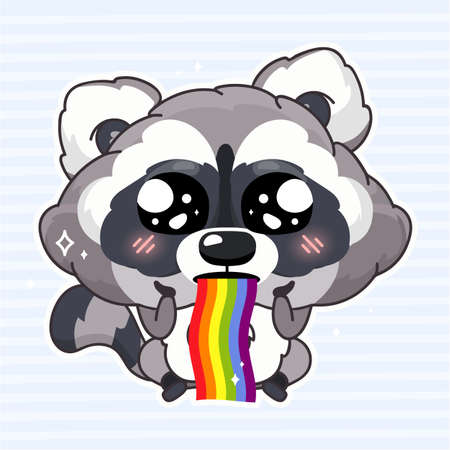 Cute raccoon kawaii cartoon vector character. Adorable and funny animal vomiting rainbow isolated girlish sticker, patch. Sweet dreams, happiness. Anime baby raccoon emoji on blue background Фото со стока - 131293405