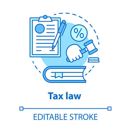 Tax law blue concept icon. Financial verdict idea thin line illustration. Taxation legislation and regulations. Economy crime. Taxpayer judgement. Vector isolated outline drawing. Editable stroke