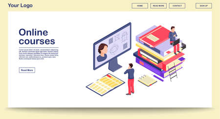 Online courses webpage vector template with isometric illustration. Webinar, video tutorial, digital teacher. Math, geometry learning. Online graduate school. Website interface layout. Site 3d concept  イラスト・ベクター素材