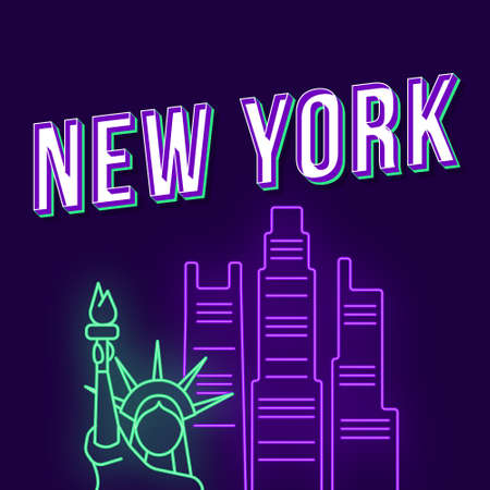 New York vintage 3d vector lettering. Retro bold font, typeface. Pop art stylized text with neon light. Liberty statue, skyscrapers. 90s, 80s poster, t shirt typography design. Dark  color background