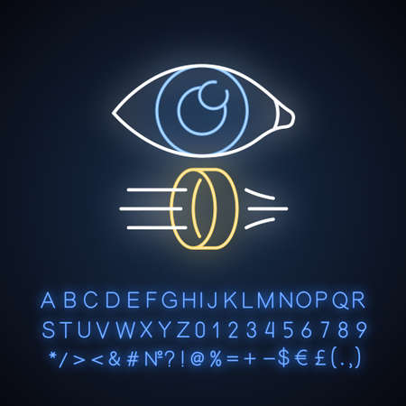 Optics neon light icon. Optometry and ophthalmology scientific research. Light rays reflection and refraction. Glowing sign with alphabet, numbers and symbols. Vector isolated illustration