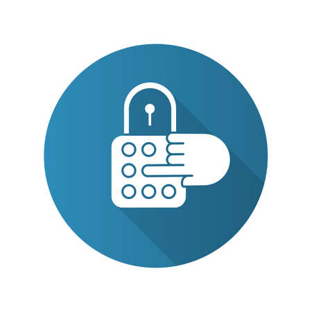 Combination lock blue flat design long shadow glyph icon. House security. Password, code, safe padlock. Home protection. Secured door entry, limited access. Vector silhouette illustration