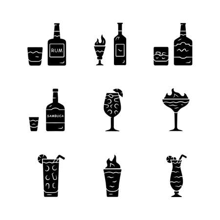 Drinks glyph icons set. Rum, absinthe, whiskey, sambuca, sangria, flaming cocktail and shot, hurricane glass, highball glass. Alcoholic beverages. Silhouette symbols. Vector isolated illustration