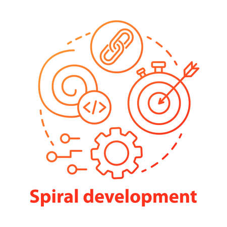 Spiral development concept icon. Strategy management. Planning and achieving goal. Software system engineering idea thin line illustration. Vector isolated outline drawing