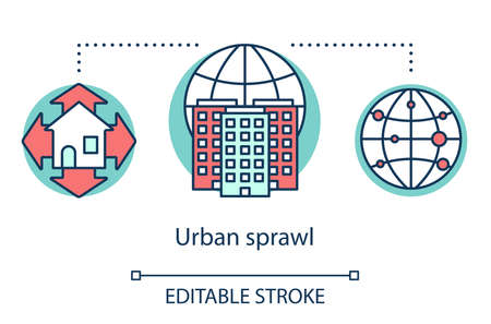 Urban sprawl concept icon. Growth of cities. Urbanization. Expansion of megalopolises. Urban housing. Thickly settled area idea thin line illustration. Vector isolated outline drawing. Editable stroke Illustration