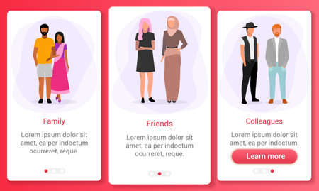 Interpersonal relationships onboarding mobile app screen template. Race and ethnic relations. Multicultural family, friends, colleagues. Website steps with flat characters. UX, UI, GUI interface Stock Illustratie