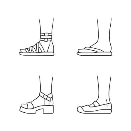 Women summer shoes linear icons set. Female elegant formal and casual footwear. Gladiator sandals, platform heels. Editable stroke. Thin line contour symbols. Isolated vector outline illustrations Ilustracja