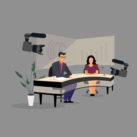 Television presenter, journalists at news studio flat illustration. Newscasters broadcasting, recording news release. Mass media, press, TV industry. Journalists, reporters, announcers characters