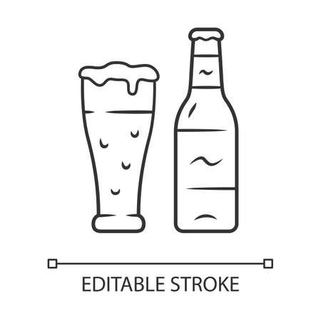 Icono lineal de cerveza. Botella descorchada y vaso de bebida. Lager embotellada y de barril. Bebida alcoholica. Pinta de cerveza. Ilustración de línea fina. Símbolo de contorno. Dibujo de contorno aislado del vector. Trazo editable