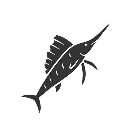 Sailfish glyph icon. Swimming fish with sharp nose. Undersea swordfish animal. Fishing. Aquatic creature. Marine nature. Ocean fauna. Silhouette symbol. Negative space. Vector isolated illustration
