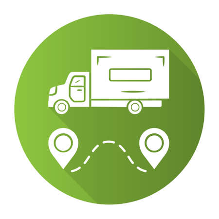 Delivery truck green flat design long shadow glyph icon. Cargo shipping lorry. Freight transportation auto. Heavy goods delivery van. Postal service vehicle. Vector silhouette illustration
