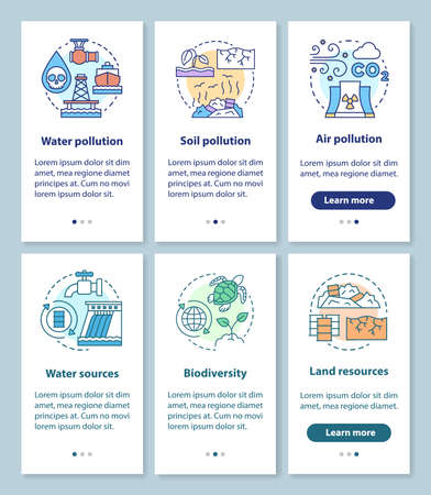 Earth resources and pollution issues onboarding mobile app page screen with linear concepts. Source, biodiversity walkthrough steps graphic instructions. UX, UI, GUI vector template with illustrations