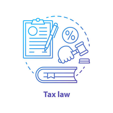 Tax law blue concept icon. Revenue rule idea thin line illustration. Financial verdict. Taxation legislation and regulations. Economy punishment. Taxpayer penalty. Vector isolated outline drawing