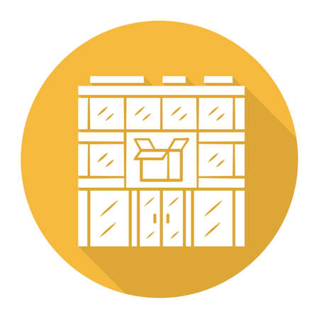 Post office building yellow flat design long shadow glyph icon. Postal warehouse facilities. Delivery office. Order shipping. Shipment service. Parcel storage. Vector silhouette illustration Ilustracja