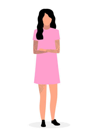 Young hipster girl flat illustration. Teenager in pink dress and tattoos isolated cartoon character on white background. Swag, chic girl, fashionista standing with crossed hands and brunette hair