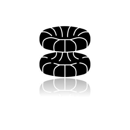 Quantum physics drop shadow black glyph icon. Nuclear energy phenomenon. Futuristic nanotechology. Quantum mechanics theoretical model. Nuclear fusion. Physics branch. Isolated vector illustration