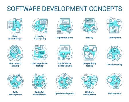 Softwareentwicklungskonzeptikonen eingestellt. Entwerfen, Programmieren, Testen, Reparieren und Warten von Programmen. Ideen für die App-Erstellung mit dünnen Linien. Vektor isolierte Umrisszeichnungen. Bearbeitbarer Strich