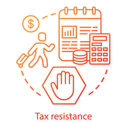 Tax resistance concept icon. Civil protest, government manifestation idea thin line illustration. Taxpayer with suitcase, notepad and calculator vector isolated outline drawing. Taxation evasion
