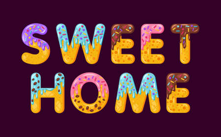 Sweet home biscuit vector lettering. Glazed gingerbread inscription. Tempting flat design typography. Cookies letters phrase isolated on purple. Biscuit word print, housewarming banner element