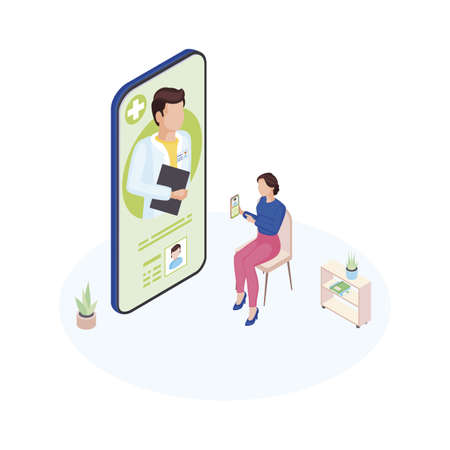 Doctor on call service isometric illustration. General practitioner consulting mother online. Remote pediatrician advice. Cartoon woman explaining child symptoms, complaints via video conference