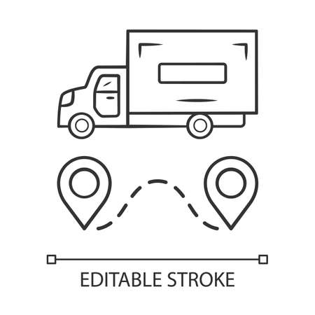 Delivery truck linear icon. Cargo shipping lorry. Freight transportation auto. Heavy goods delivery van. Postal service vehicle. Thin line illustration. Vector isolated outline drawing Editable stroke Illustration