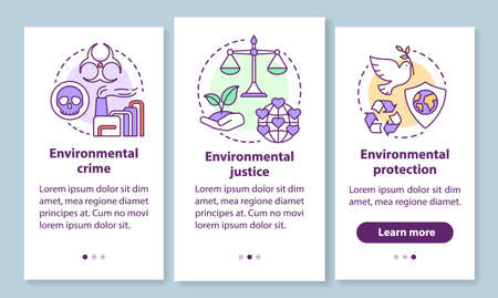 Environmental law onboarding mobile app page screen with linear concepts. Environment crime, justice & protection walkthrough steps graphic instructions. UX, UI, GUI vector template with illustrations  イラスト・ベクター素材