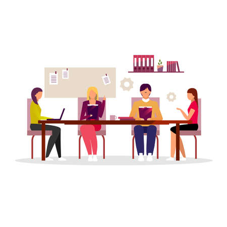 Office workers brainstorming, teamwork flat illustration. Business conference, seminar, corporate training. Managers team working isolated cartoon characters. Employees, executives, board of directors