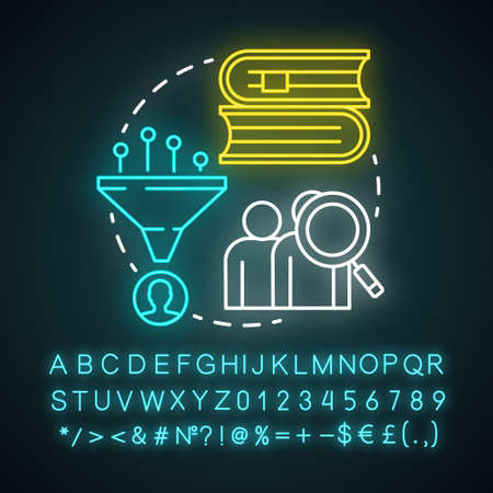 Biographies neon light concept icon. Life history idea. Stories about famous people. Facts about historic personalities. Glowing sign with alphabet, numbers and symbols. Vector isolated illustration