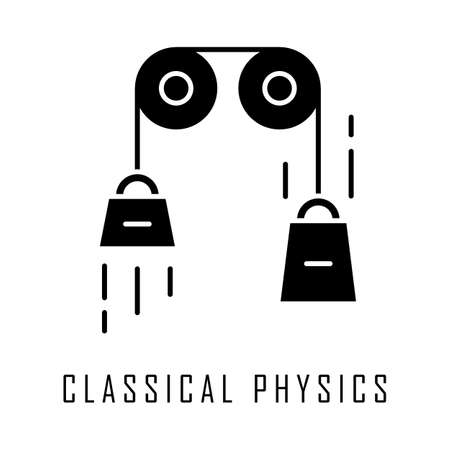 Classical physics glyph icon. Laws of motion and gravitation. Mechanical energy research. Theoretical kinematics physical experiment. Silhouette symbol. Negative space. Vector isolated illustration Ilustração