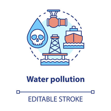 Water pollution concept icon. High seas waste contamination idea thin line illustration. Ecological water problems and disaster prevention. Vector isolated outline drawing. Editable stroke