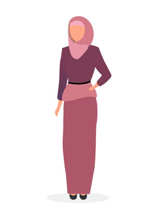 Woman in hijab flat vector illustration. Saudi, arabian girl wearing abaya isolated cartoon character on white background. Muslim elegant lady with scarf. Fashion model in islamic traditional clothing