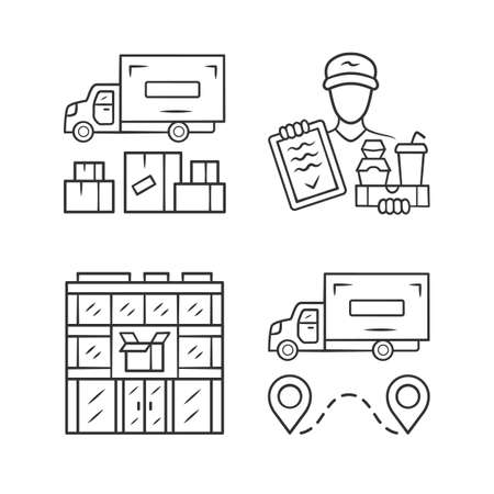 Delivery linear icons set. Heavy goods shipping, food delivery courier, post office. Cargo transportation truck. Shipment. Thin line contour symbols. Isolated vector illustrations. Editable stroke Ilustracja
